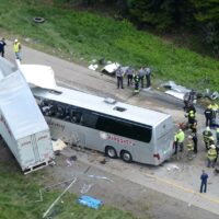 Wide view of the accident involving Gloria Stefan's Bus